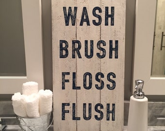 NAVY BLUE Wash Brush Floss Flush sign, wood pallet, bathroom art, typography, farmhouse sign