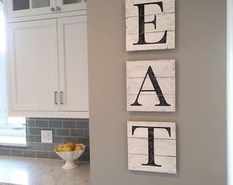 EAT sign, wood pallet, farmhouse sign,  kitchen decor, shiplap, typography