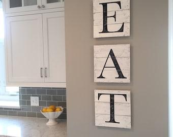 EAT sign, wood pallet, farmhouse sign,  kitchen decor, shiplap, typography