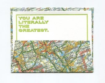 "3 Beautiful Letterpress Notecards ""You are literally the greatest."" + Handmade Envelopes"