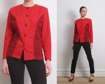80s Red Checkered Cardigan Blazer / S