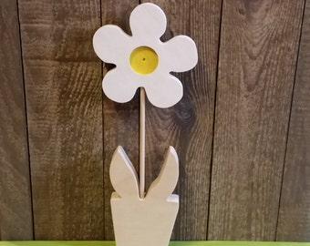 Wooden white flower