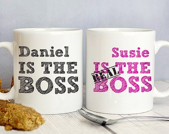 Personalised THE REAL BOSS Mug Gift Set - Valentines, Anniversary, Wedding His and Hers