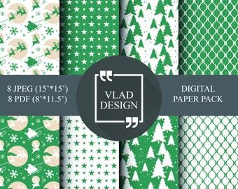 8 Design Christmas paper pack Geometric patterns Abstract Green patterns Star patterns Christmas tree patterns Digital paper pack