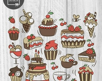 17 Sweets Clipart Cupcake Clipart Digital Ice-cream Elements Cute Sweets graphics Bees clipart Cakes Clipart Birthday art Desserts clipart