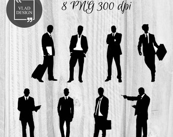 8 Men Silhouettes Clipart Businessmen Clipart Digital Men Elements Men graphics People clipart Boys clipart Clerk clipart Office worker