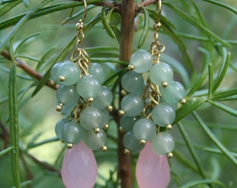 Rose Quartz and Green Aventurine Earrings