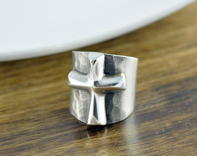 Sterling Silver Raised Cross Band Ring - Cigar Band Ring - Chunky Ring - Statement Ring - Fashion Rings - Cross Ring - Womens Rings