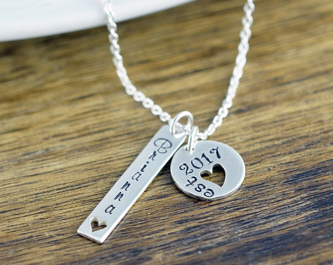 Est 2017 - Silver Bar Necklace, Gifts for Mom, Personalized Gifts, Mother's Necklace, Mom Jewelry, Kids Name Necklace, Stamped Necklace