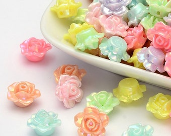 Lot of 100 -  12mm Acrylic Assorted Color Flower Rose Beads