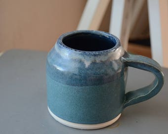 Coffee/Tea Mug in Sea Green with Blue Details Variation 2