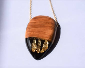 Wood Resin Pendant, Made in Italy, Handmade Necklace, B.Black n.4, Unique piece, Wood resin jewelry, Handmade Jewelry
