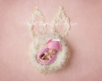 Newborn Digital Backdrop -  Beautiful Bunny Nest