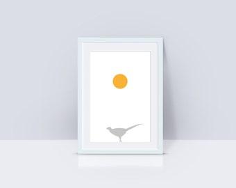 Morning Pheasant | Minimal Animal Print | Printable Wall Art | A2 Art Print | Wildlife Bird Print | White Print Decor