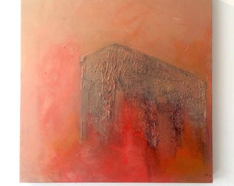 """Acrylic on board small painting 12x12"""" red orange metalic square textured ready to hang"""