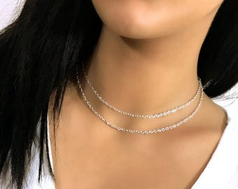 FIOR Dainty Double Layered Chain Tier Choker Necklace Silver, Gold, Rose Gold
