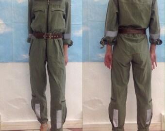 Military jumpsuit readjusted. Vintage suit.