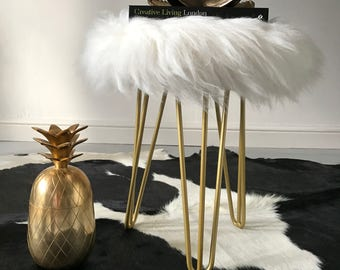 Sheepskin Stool with hairpin legs