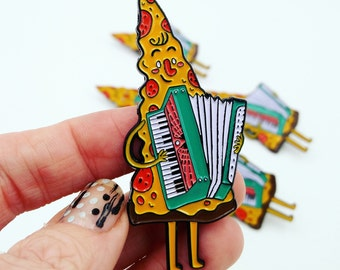 Pepperoni Pizza Polka Player Enamel Pin