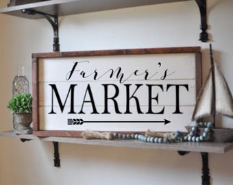 Farmer's market, framed shiplap, vintage wood sign