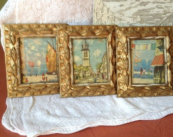 Oil on canvas paintings in gold painted frames