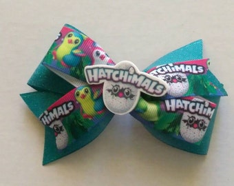 Hatchimals inspired hair bow, character hair bow, glitter hair bow