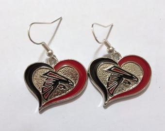Atlanta Falcons heart shaped dangle earrings