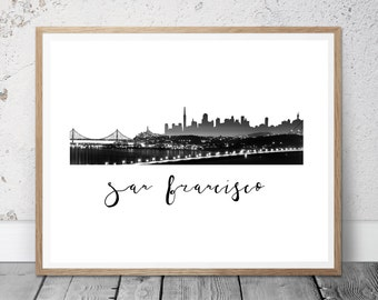 San Francisco City Printable Art, NSan Francisco Poster, Printable Art, Instant Download, Wall Art, Cityscape Art, Typography Poster