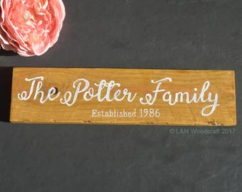 Custom Last Name Sign | Personalised | Family Surname | Established | Plaque | Wall | Gift | Wedding | New Baby | Wooden | Rustic | House