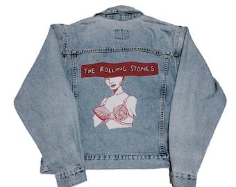 vintage Rolling Stones hand painted denim jacket