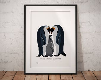 Nursery decor, nursery wall art, penguin nursery, nursery print, penguin gift, penguin print, penguin, penguin wall art, penguin art, wish