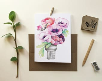 Small cone anemones gift card / greeting card / card without text / Bouquet flowers / birthday party / Katrinn illustration