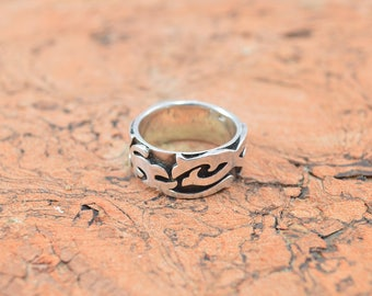 Abstract Tribal Band Ring Size 11.75 Sterling Silver 13.7g Vintage Estate
