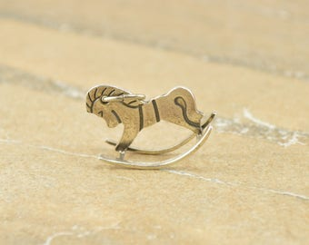 3D Rocking Horse Charm / Pendant Sterling Silver 1.7g