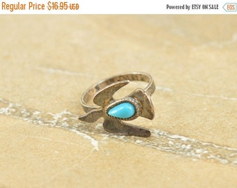 On Sale Native American Style Bird Pear Cut Blue Stone Ring Size 4.25 Sterling Silver 2g Vintage Estate