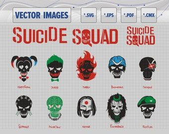 Suicide Squad Skulls - vector graphic svg, eps, pdf, cmx and raster png for instant download