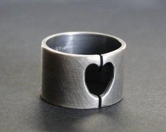 Silver heart ring, heart band, modern heart ring