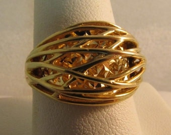 Vintage 14K Solid Gold 3-D Ring - UNIQUE - Size 9  #R143