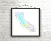 River basins of California in rainbow colours (high resolution digital print) map print, wall art, poster map, home decor, wall decor, gift