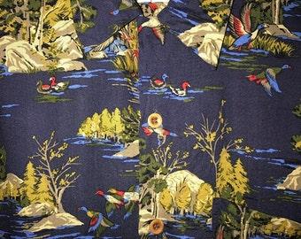 Vintage 80s Mens Nick & Nora Sportsman Rayon Button Shirt Men's Medium Polo Sportsman Baroque Hunting Duck Hunter