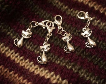 Silver Sitting Cat Progress Keepers/Stitch Markers 4 Pack