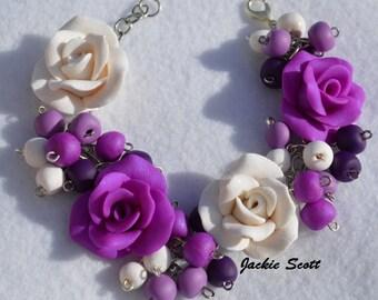 Purple and White Rose, Rose Bracelet, FreeShipping