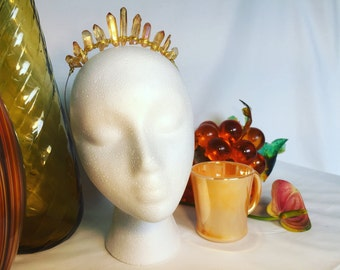 Sunset Quartz Crystal Crown with Gold Wire Wrap