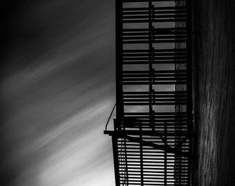 Fire Escape Long Exposure Black and White