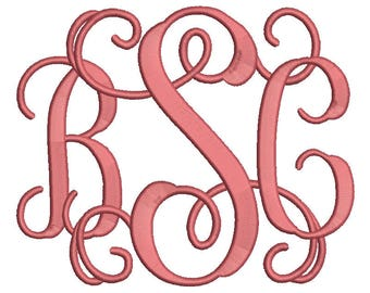 Vine Monogram Embroidery Font 4 Size Font Machine Embroidery Font Instant Download 9 Formats Embroidery Pattern PES and BX