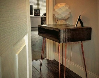 Rustic scaffold board Reclaim wood bedside table With Industrial Hairpin Legs