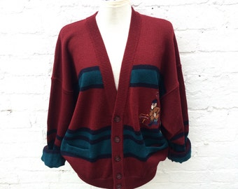 Camping cardigan, knit sweater, novelty outdoor knitwear