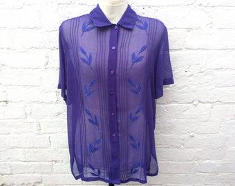 Purple shirt, vintage blouse, women's sheer top