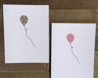 Happy Birthday Card Set / Gray and Pink Dotted Balloon / Birthday Greeting Card / Birthday Invitations