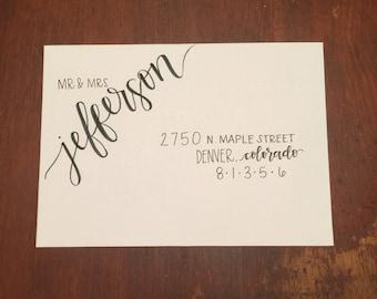 Hand Lettered Envelopes / Wedding Calligraphy - Slant Style